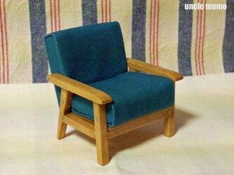 ドール用ソファ1人掛け(色:ブルー×オーク) 1/12ミニチュア家具の画像
