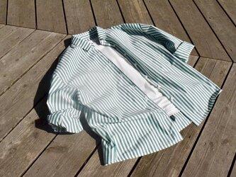 ¥2000-off 新緑 bansyuori cotton wide shirt コットン  ストライプ ワイドシャツの画像