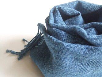 「Yさまご依頼品」手織りコットンストール・・薄縹の画像