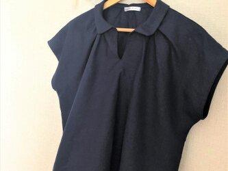 【ご予約商品】リネン 襟付きブラウス ネイビーブルーの画像