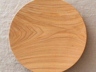 【受注生産】ろくろ挽きの木皿 栓の木 24cmの画像