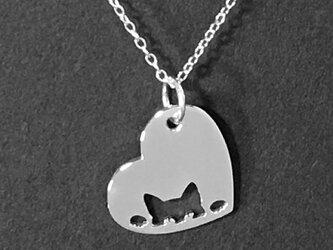 Peeping cat Openwork Heart Pendant Silver ネコの透かし彫りペンダント【受注制作】の画像