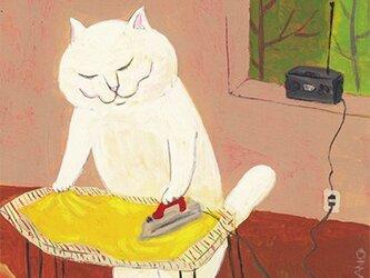 カマノレイコ オリジナル猫ポストカード「アイロンがけ」2枚セットの画像