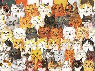 カマノレイコ オリジナル猫ポストカード「集合」2枚セットの画像