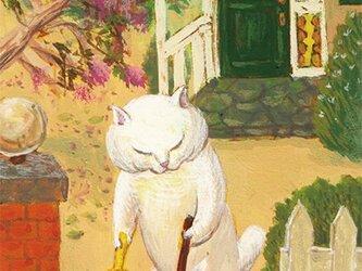 カマノレイコ オリジナル猫ポストカード「掃き掃除」2枚セットの画像