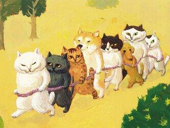 カマノレイコ オリジナル猫ポストカード「電車ごっこ」2枚セットの画像