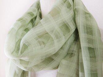 ☆セール☆ 草木染め チェック柄大判シルクショール 手袋つき(白ヤマブキ)の画像