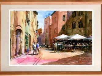 水彩画原画 サンジャミニャーノの街の画像