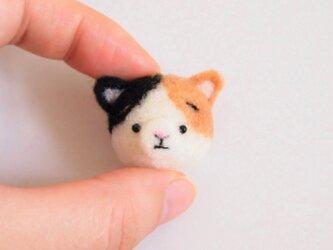まゆ三毛猫(みけねこ) 携帯クリーナーストラップ 羊毛フェルト(アクレーヌ製)※受注製作の画像