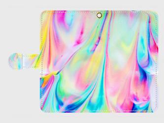 アートペイント「クリームマーブル」 Galaxy8等 大サイズスマホ専用 手帳型ケースの画像