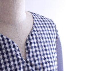 【kinkoさまオーダー分】ギンガム&ストライプ コットン ミックスキーネックシャツ②の画像