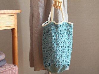パイナップル編みの手さげ袋*スモークブルーの画像