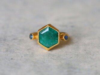 古代スタイル*天然エメラルド 指輪*9号 GPの画像