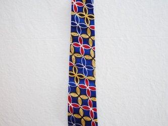 アフリカンプリントx播州織ネクタイ blue flowerの画像