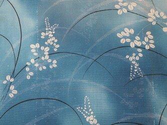 r0002b 絽・萩紋様ハギレ90cm 難有☆古布・古裂/絞り/錦紗縮緬/正絹/人絹/モスリンの画像