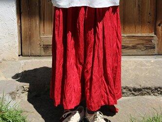ギャザースカート:赤の画像