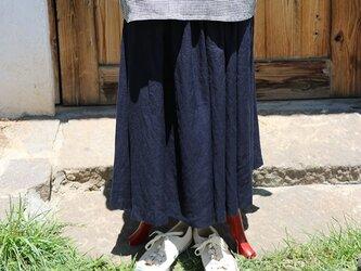 ギャザースカート:紺の画像