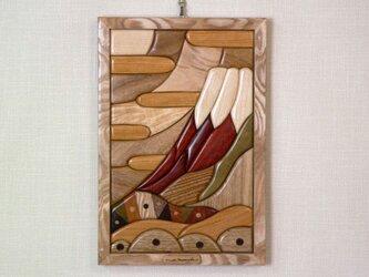 木の絵 赤富士の画像
