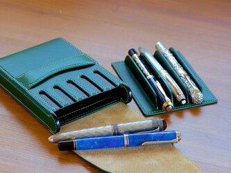 グリーンの万年筆5本挿しケースの画像