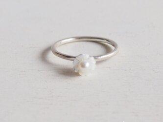 【受注制作】- Silver - 白蝶貝の花リングの画像