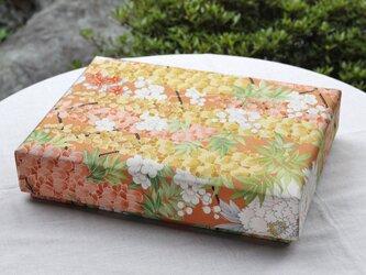 着物地の文箱(橙色)の画像