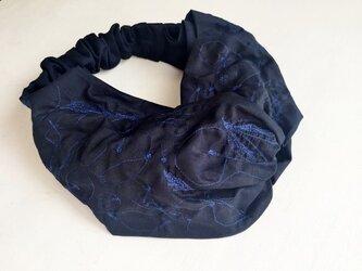 """maruhane-embroidery""  TURBAN c/# DEEPNAVY(刺繍糸BLUE)*No.0の画像"
