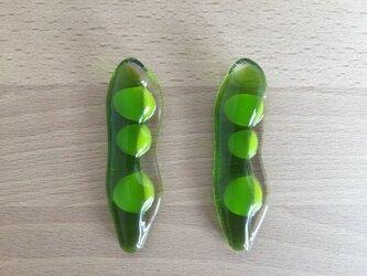 豆が顔をだした枝豆のお箸置き(2客)の画像