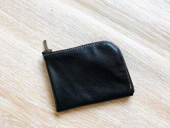 しっとりレザー L字財布 本革 オイルレザー ブラックの画像