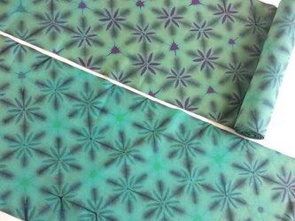 抜染の雪花絞り木綿反物13m の画像