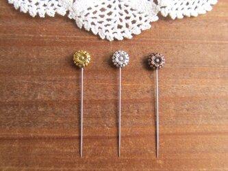 メタルお花ビーズの待ち針 3色3本セット の画像