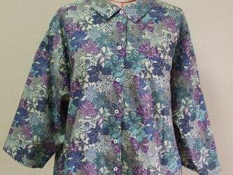 リバティタナローンMauvey(モーヴィー)台衿付きショールカラー オーバーサイズのブラウス L~LLサイズの画像