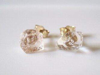 シャンパンカラートパーズ&ダイヤモンドクォーツの原石ピアス/Pakistan 14kgfの画像
