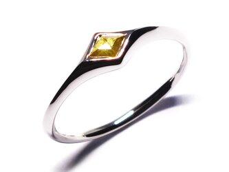 ♢型ダイヤモンドとシルバーのユニセックスコンビリング【Pio by P】rustic diamondの画像