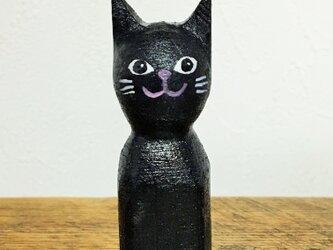 木彫り猫  黒の画像