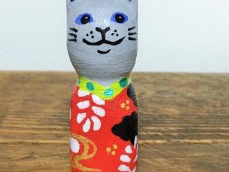 木彫り猫 アンティーク着物 の画像