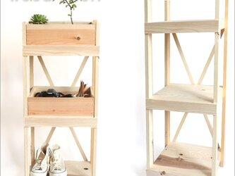 ウッドシェルフ ハンドメイド 受注生産 DIY 棚 シェルフ 収納ラック 収納棚 飾り台 靴置き 耐震 筋交い付きの画像