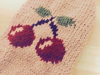 【手編み】さくらんぼセーター(小型犬用・胴回り33)【犬・服】の画像