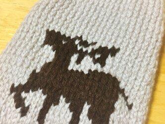 【手編み】シカ柄セーター(小型犬用・胴回り33)【犬・服】の画像