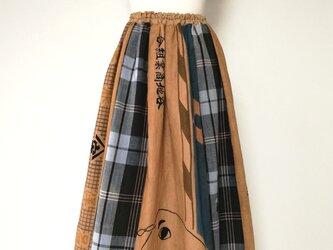 手拭いと古綿のリメイクスカートの画像