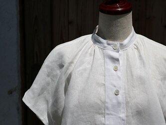 フロントギャザー半袖チュニック:白の画像
