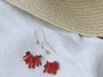 Red coral +Turquoise pierceの画像