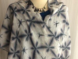 雪花絞り 竹布ロングストール 210×37cm ジェンダーレス  の画像