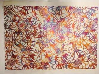 ギルディング和紙 竹柄 生成和紙 赤混合箔の画像