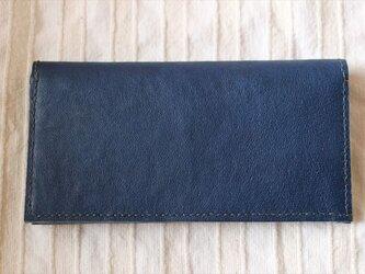 ナチュラルレザーの長財布 ネイビーの画像