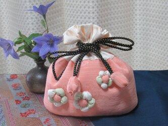 ◆着物リメイクかわいい巾着袋◆ちりめん細工◆ピンクの画像