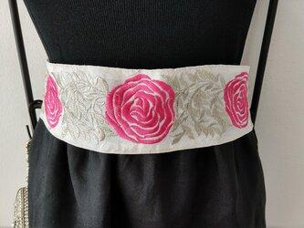 ★ピンクx金モール★薔薇★インド刺繍のリボンベルト★の画像