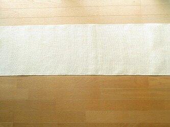 真っ白のリネンの手織りテーブルランナー(2)の画像