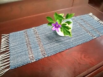 手織りセンター(藍×ベージュ)no.1の画像