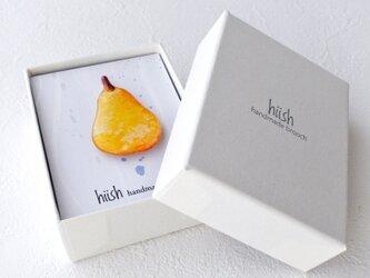 洋梨のブローチ (オレンジ)の画像
