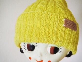 麻(リネン)のサマーニット帽【イエロー】の画像